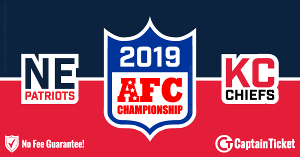 Buy AFC Championship - Patriots vs Chiefs tickets cheaper with no fees at Captain Ticket™ - The Original No Fee Ticket Site!
