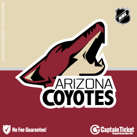 Buy Arizona Coyotes tickets cheaper with no fees at Captain Ticket™ - The Original No Fee Ticket Site!