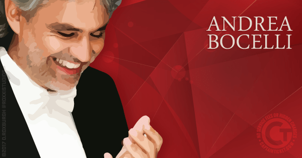 Buy Andrea Bocelli tickets cheaper with no fees at Captain Ticket™ - The Original No Fee Ticket Site!