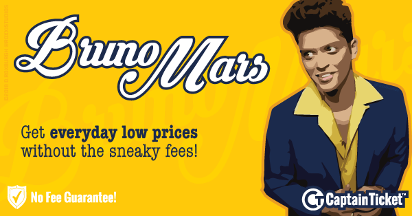 Buy Bruno Mars tickets cheaper with no fees at Captain Ticket™ - The Original No Fee Ticket Site!